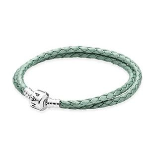 Pandora double leather bracelet- sea green